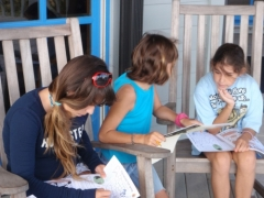 homeschool kids on porch