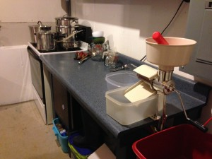 "The ""Boiler Room"" set up for cooking and making the apples into sauce."