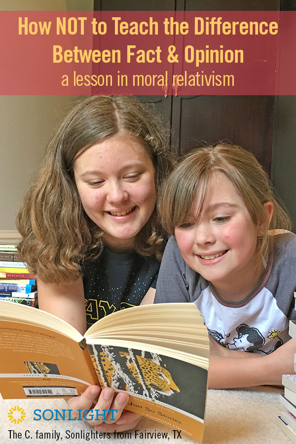 How NOT to Teach the Difference Between Fact and Opinion: A Lesson in Moral Relativism | Avoid simplistic, either-or explanations of fact and opinion. Instead, teach your children that things we believe can also be facts. | homeschool | parenting