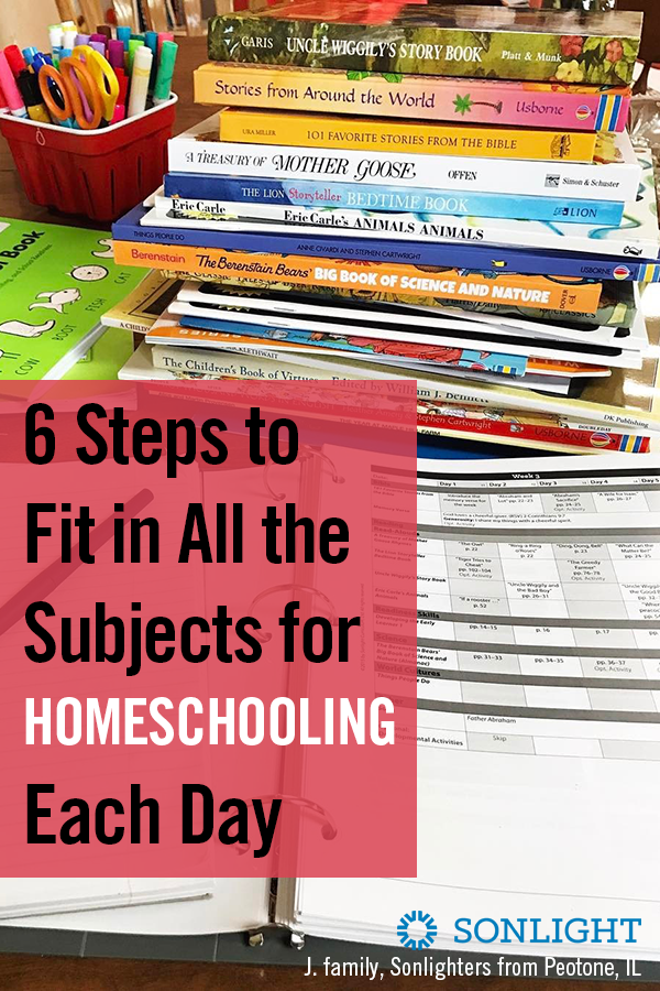 6 Steps to Fit in All the Subjects for Homeschooling Each Day • homeschooling • homeschool scheduling • Six steps that help you fit in all the subjects and finish your homeschool year on time without making the kids hate school.