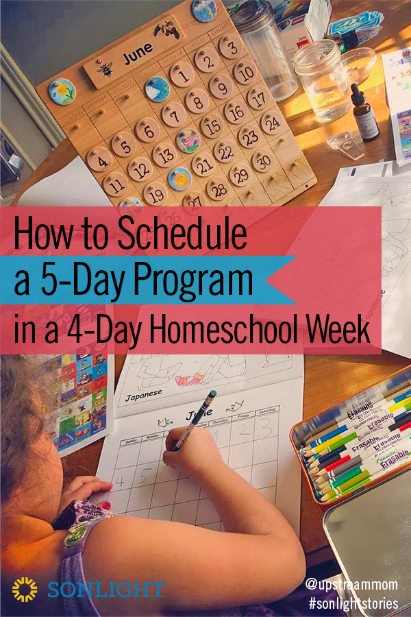How to Schedule a 5-Day Program in a 4-Day Homeschool Week • homeschool planning • homeschool scheduling