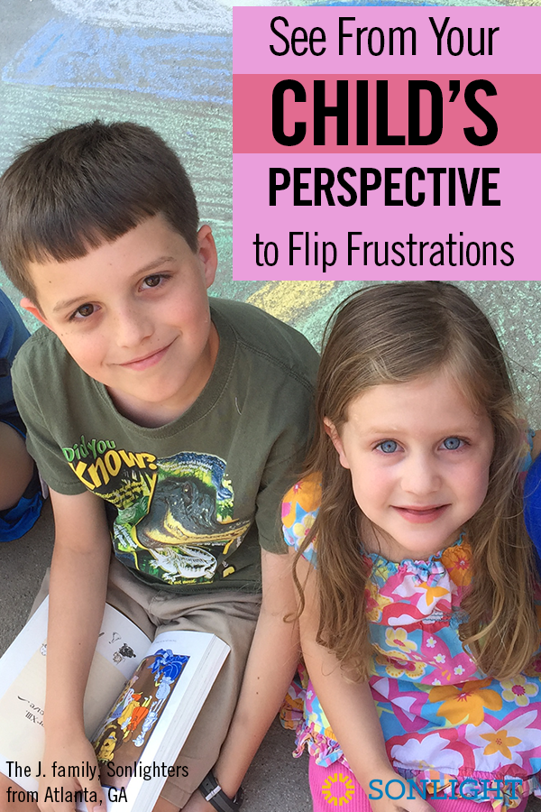 See From Your Child's Perspective to Flip Frustrations • Christian parenting in a homeschool family • When frustrations arise, take a minute to think through your child's experience from their perspective. This new point of view inspires compassion.