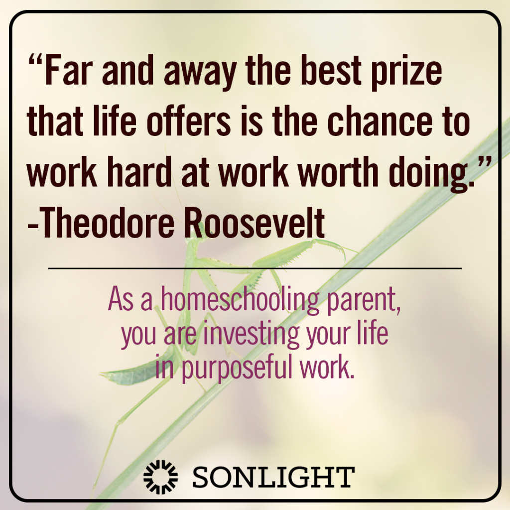 "Theodore Roosevelt said, ""Far and away the best prize that life offers is the chance to work hard at work worth doing."" As a homeschooling parent, you are investing your life in purposeful work."
