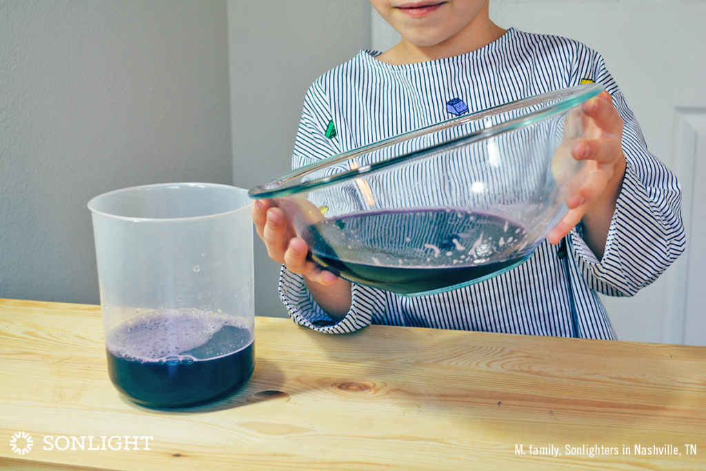 Transfer your anthocyanin indicator to a beaker or pitcher for easy pouring.