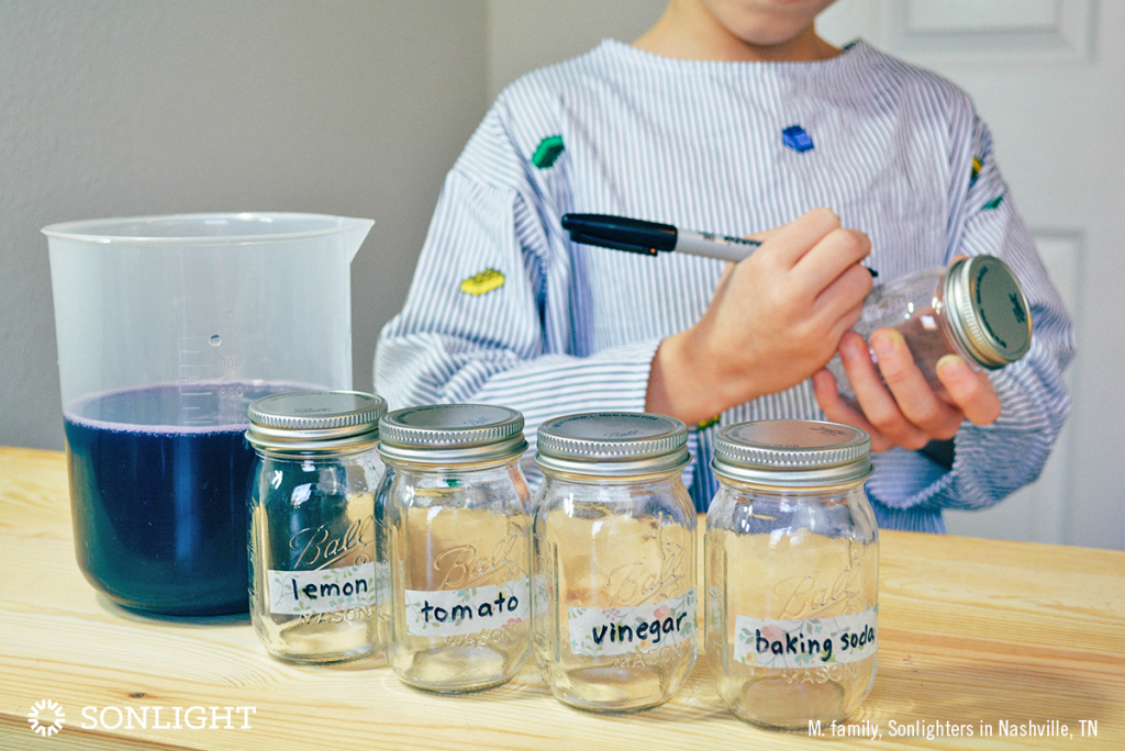 Label the clean, dry jars as follows: control, lemon, tomato, baking soda, vinegar.