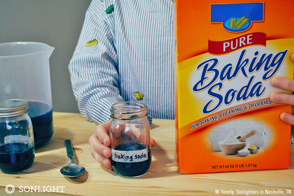 Add a spoonful of baking soda to the appropriately-labeled jar.