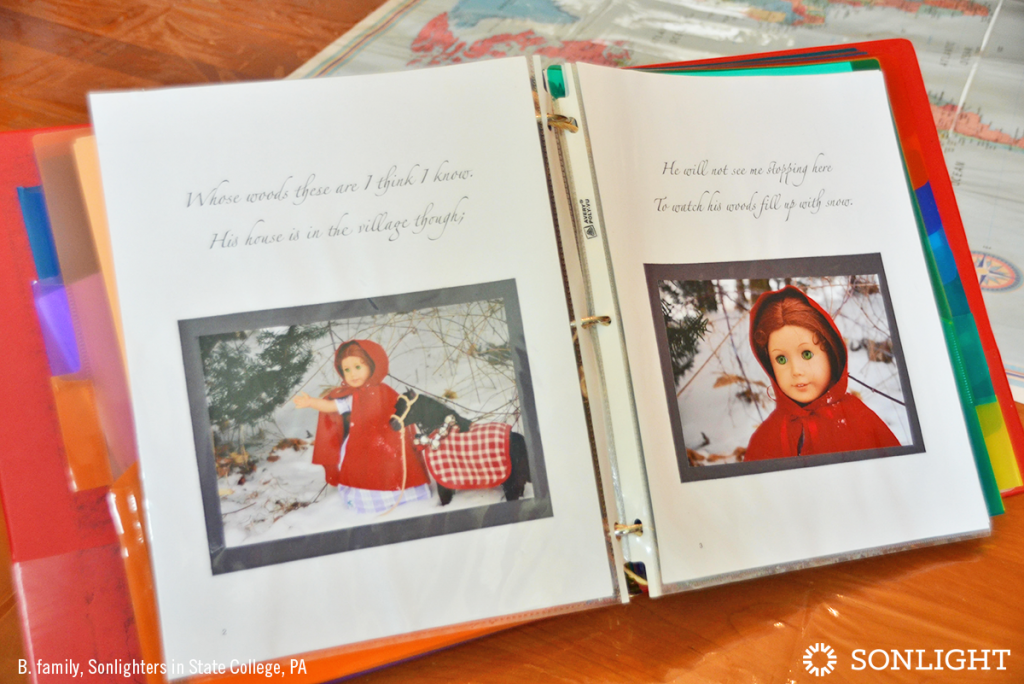How to Create a Family Anthology of Your Child's Creations • A story illustrated by photos of a doll in the snow