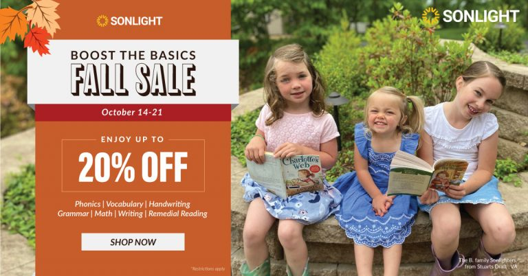 Boost the Basics Fall Sale at Sonlight | Enjoy up to 20% off on phonics, vocabulary, handwriting, grammar, math, writing, and reading