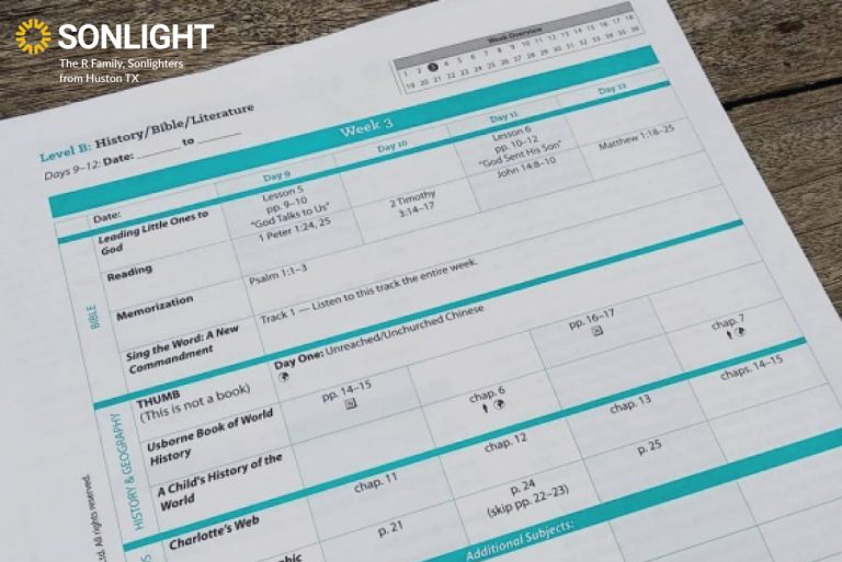 a Sonlight Instructor's Guide page