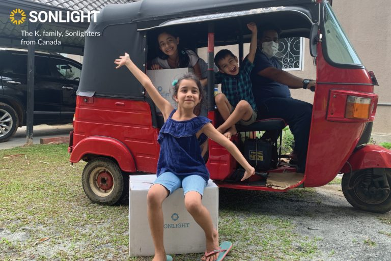 Missionary child on the field gets her Sonlight package